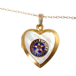 United States Army Air Corps Military Sweetheart Locket Necklace~Gold filled with Mother of Pearl and Enamel AAC