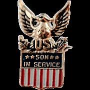 Vintage Coro 1940's WW2 Era Military Patriotic Eagle Son in Service Brooch Pin