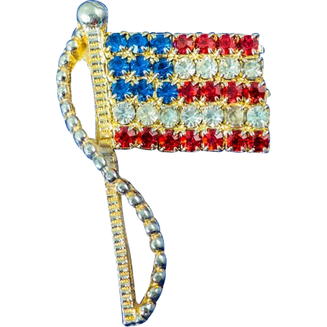 Vintage Rafaelian US Flag Brooch Pin and Red, White, and Blue Rhinesotnes  ~ Patriotic