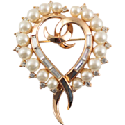1950's Trifari Heart Baguette Rhinestones and Faux Pearl Brooch