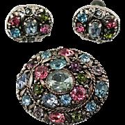 1950's Hollycraft Pastel Rhinestone Demi Parure ~ Brooch and Earrings Set