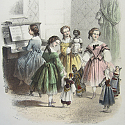 Antique French Lithographic Print: 'Little Girls playing With Their Dolls in Ethnic Costume'