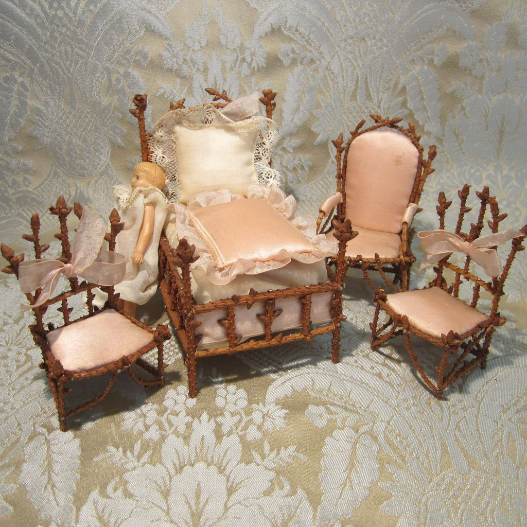 Miniature pine twig chambre de nuit furniture set for doll for Chambre de nuit