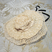 Cream Silk Hat for Small Size French Fashion