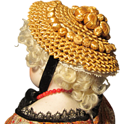 Antique Straw Bonnet for French Fashion With Ball Detail