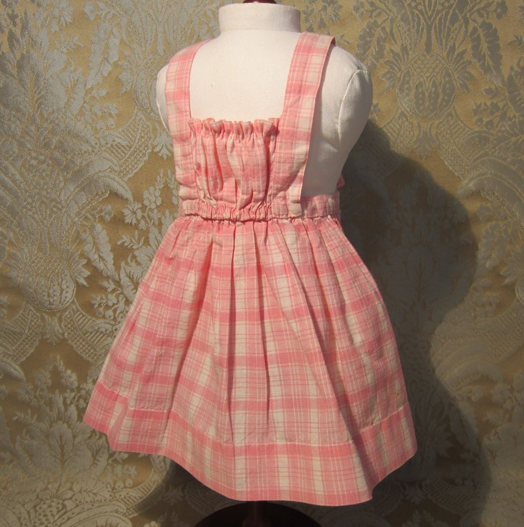 antique french apron or tablier in pink plaid for bebe from mllebereux on ruby lane. Black Bedroom Furniture Sets. Home Design Ideas
