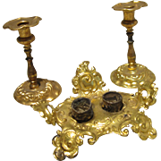 Ormolu Inkstand and Candlesticks - Set of Three Items
