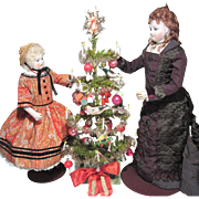 Exquisite Original Antique German Feather Tree With Ornaments