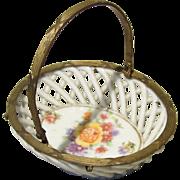 Miniature Porcelain Handled Basket for Antique Doll Display