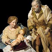 "Neapolitan Creche Holy Family Figures - 14"" - Antique 18th Century - Museum Quality"