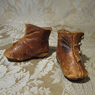 Antique Brown Leather Boots for Child Doll - Size 2 1/2