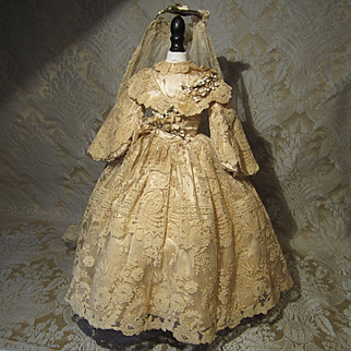 Genuine Antique Wedding Dress and Veil in Silk and Lace for French Fashion