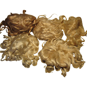 5 Antique Mohair Doll Wigs for Repair or Restoration
