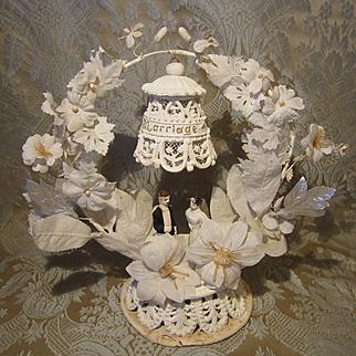 Antique 1890's Plaster Wedding Cake Topper