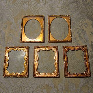 Group of 5 Miniature Gilt Frames for Doll House Decor - Antique