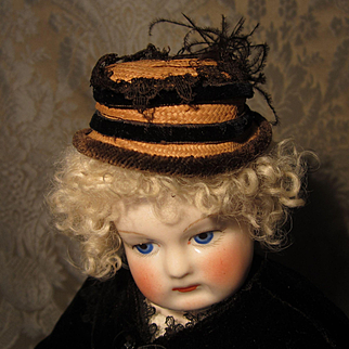 French Fashion Antique Straw Toque Hat Trimmed in Black