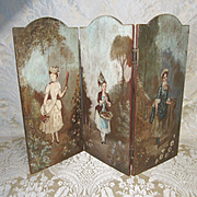 3 Panel Painted Wood Screen for Doll Display - Antique