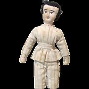 "Adorable Antique Needle Sculpted Cloth Boy Doll - 5 1/2"""