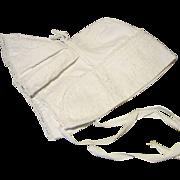 Fine White Pique and Soutache Bavolet Bonnet for Larger French Bebe