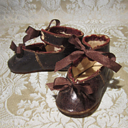Antique Bronze Kid Bebe Shoes - Size 4 - Marked CM