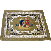 Antique Miniature Needlepoint Beaded Rug for Doll House or Doll Display - Blind Man's Bluff