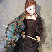 Very Fancy Antique Parasol in Green Plaid Silk for French Fashion