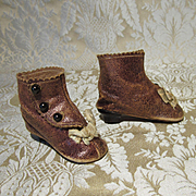 Antique Original Brown Leather Heeled boots for Larger French Fashion or Small Bebe
