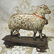 Antique American Tin Toy Sheep on Platform for Display with Antique Dolls