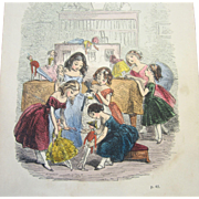 Antique Book: The Doll and Her Friends - English, Circa 1852 - Colored Engravings