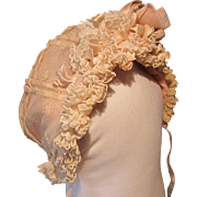 Antique Pink Silk and Lace Bonnet for French Bebe