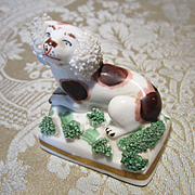 Miniature Antique Staffordshire Spaniel For Doll or Doll House Display