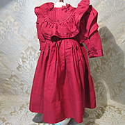 "Antique Original Bebe Dress in Cranberry Wool for 22 - 24"" Doll Circa 1895"