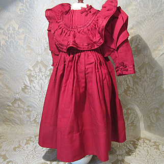 """Antique Original Bebe Dress in Cranberry Wool for 22 - 24"""" Doll Circa 1895"""