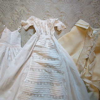 Luscious Antique Christening Gown With Original Slip and Wool Cape - Doll Size