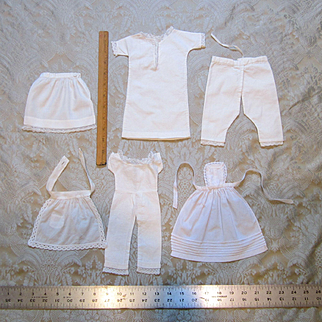 Group of 6 Antique Whites for Smaller Dolls