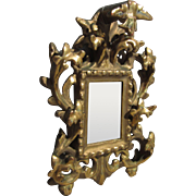 Miniature Antique Mirror With Highly Ornate Gilded Frame For French Fashion