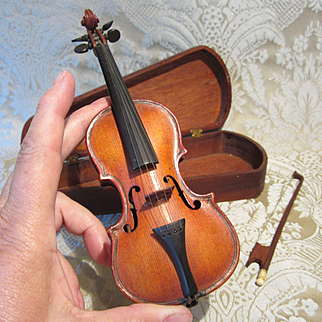 Period Antique Miniature Violin With Case and Bow For Doll Display