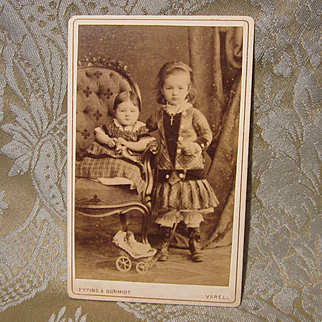 CDV of Two Girls With Their Dolls and Carriage - 19th Century