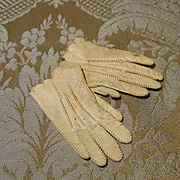 Antique Cream Kid Gloves - Hand Sewn - For French Fashion