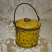 Folky Painted Tin Pail With Lid - for Izannah Walker?
