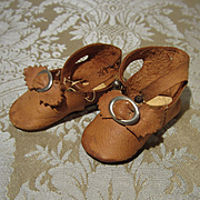 Caramel Leather Antique Doll shoes - German Size 5