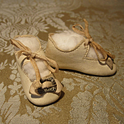 Antique German Shoes - Cream Kid in Excellent Condition