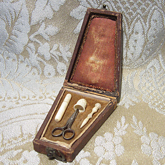 Coffin-shaped Miniature Necessaire for French Fashion Dolls - With Tools
