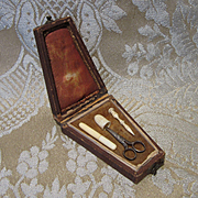 Miniature Antique Necessaire With Tools for French Fashion