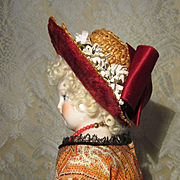 Small Antique Straw Bonnet For French Bebe or Fashion
