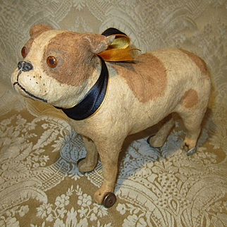 Antique Bulldog Pull Toy for Doll Companion