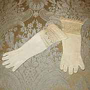 Cream Knit Evening Gloves For Larger Antique Doll