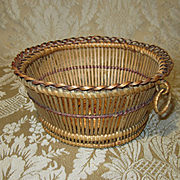 Delicate Round Basket for Doll Display - Antique French
