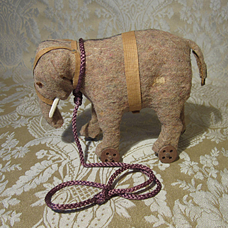 Adorable Miniature Elephant Antique Pull Toy for Doll Display