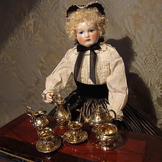 Antique Miniature Silver Tea and Coffee set for Doll Display.